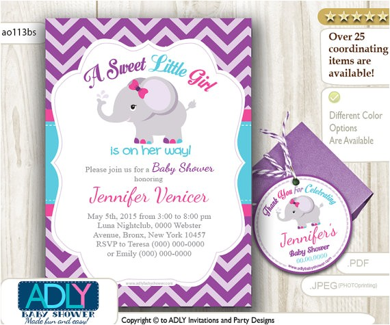 Pink Purple and Gray Baby Shower Invitations Purple Turquoise Pink Elephant Invitation Shower