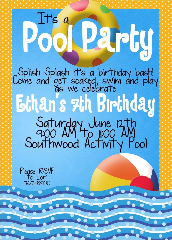 Pool Birthday Party Invitation Wording Kid Pool Party Invitation Wording