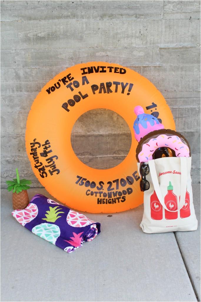 Pool Party Invitation Ideas Homemade Diy Pool Party Float Invitation Let S Mingle Blog