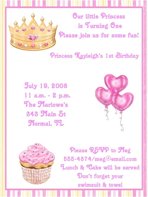 Princess 1st Birthday Party Invitation Wording 17 Best Images About Ella S 1st Birthday On Pinterest