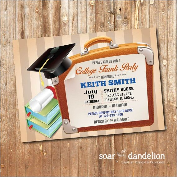 Printable College Trunk Party Invitations Trunk Party Invitation Graduation Party Gp004 by