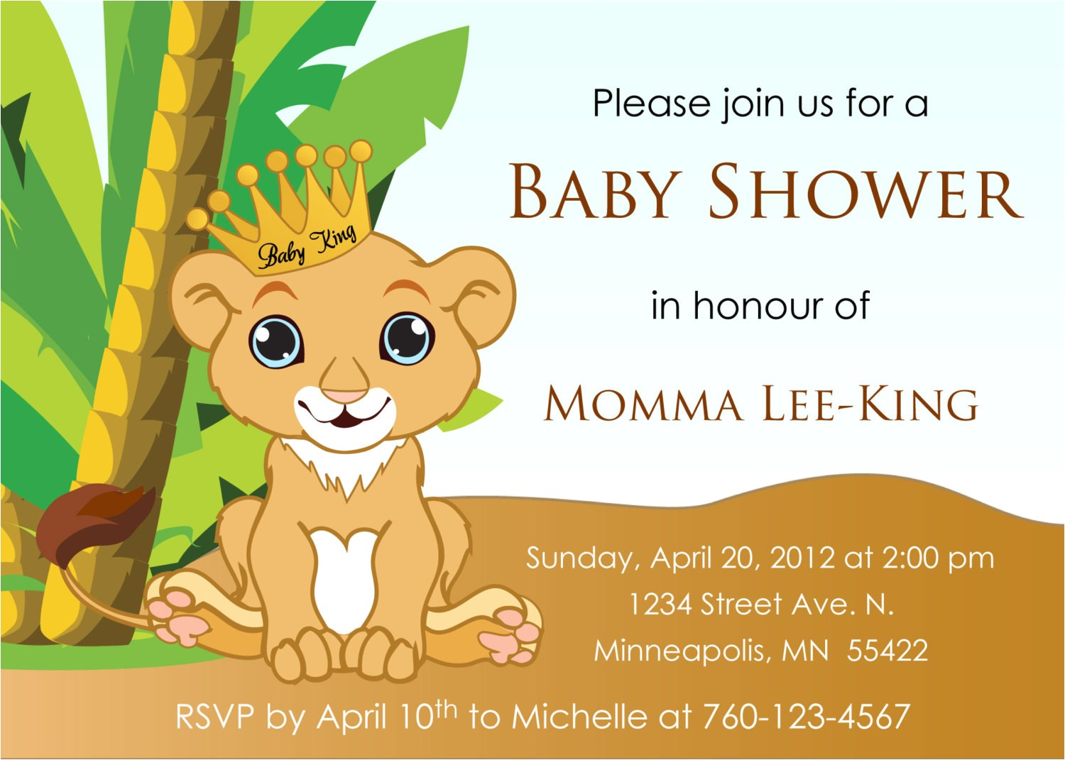 Printable Lion King Baby Shower Invitations Baby Lion King Baby Shower Invitation by Designsbyoccasion