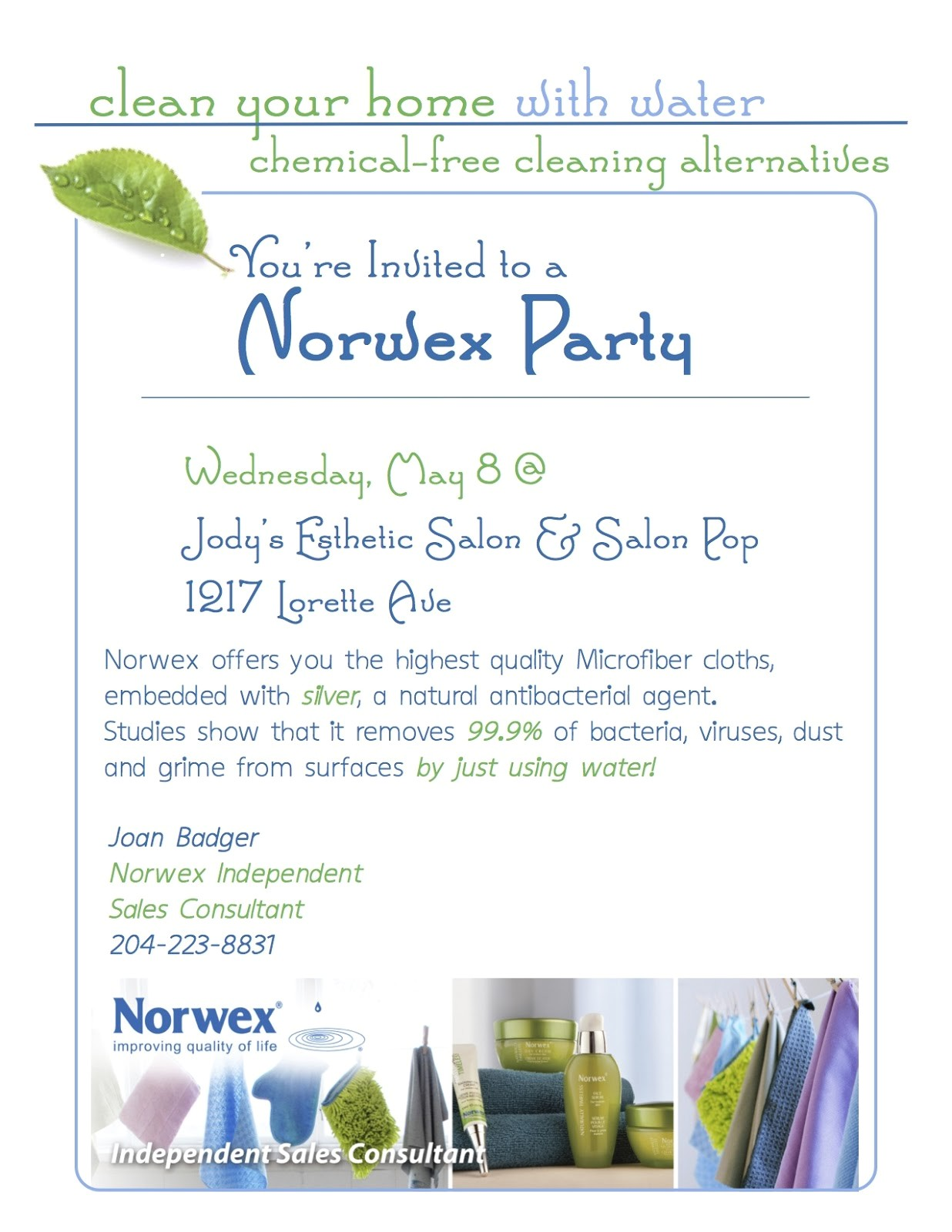 Printable norwex Party Invitation Live Clean Live Well