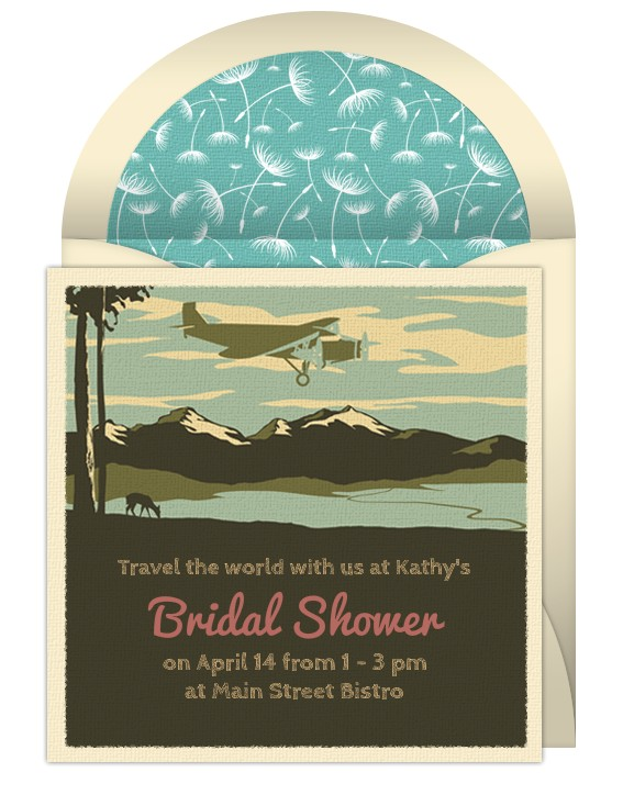 Punchbowl Bridal Shower Invitations Around the World theme Bridal Shower