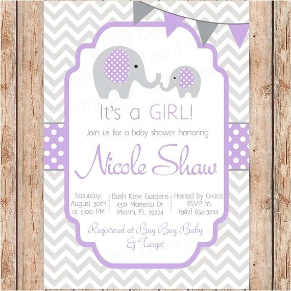 Purple and Gray Elephant Baby Shower Invitations Baby Shower Invitation Elephants It S A Girl Grey