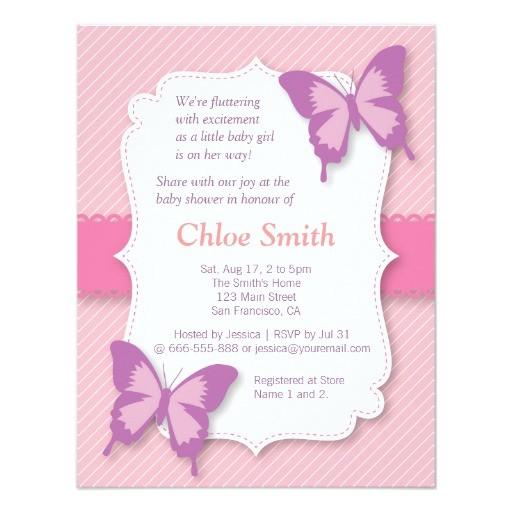 Purple butterfly Baby Shower Invites Elegant Purple butterfly Baby Shower 4 25×5 5 Paper