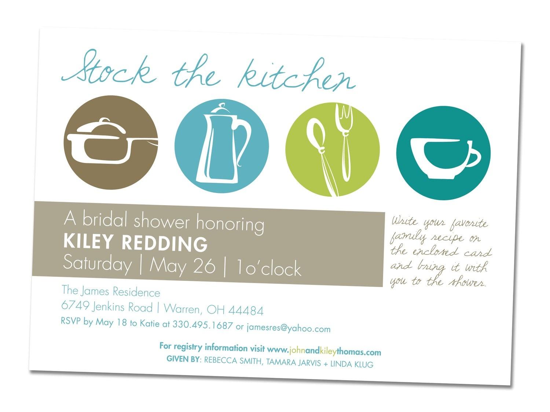 Recipe themed Bridal Shower Invitation Wording Items Similar to Kitchen themed Wedding Shower Invitation
