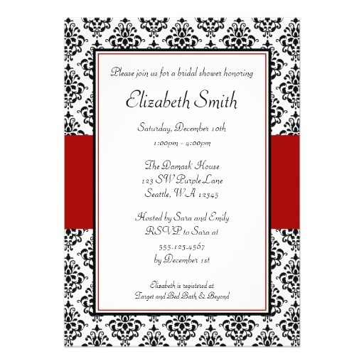 "Red and Black Bridal Shower Invitations Black and Red Damask Bridal Shower Invitations 5"" X 7"