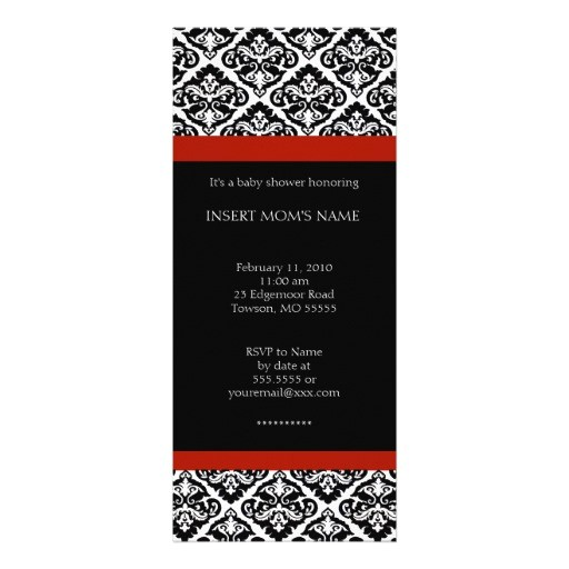 """Red Black and White Baby Shower Invitations Black and Red Chic Baby Shower Invitations 4"""" X 9 25"""