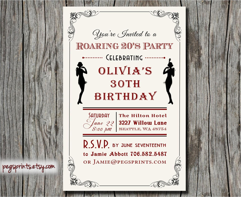 Roaring 20 S Party Invitations Roaring 20s Invitation 1920s Birthday Invitation by Pegsprints