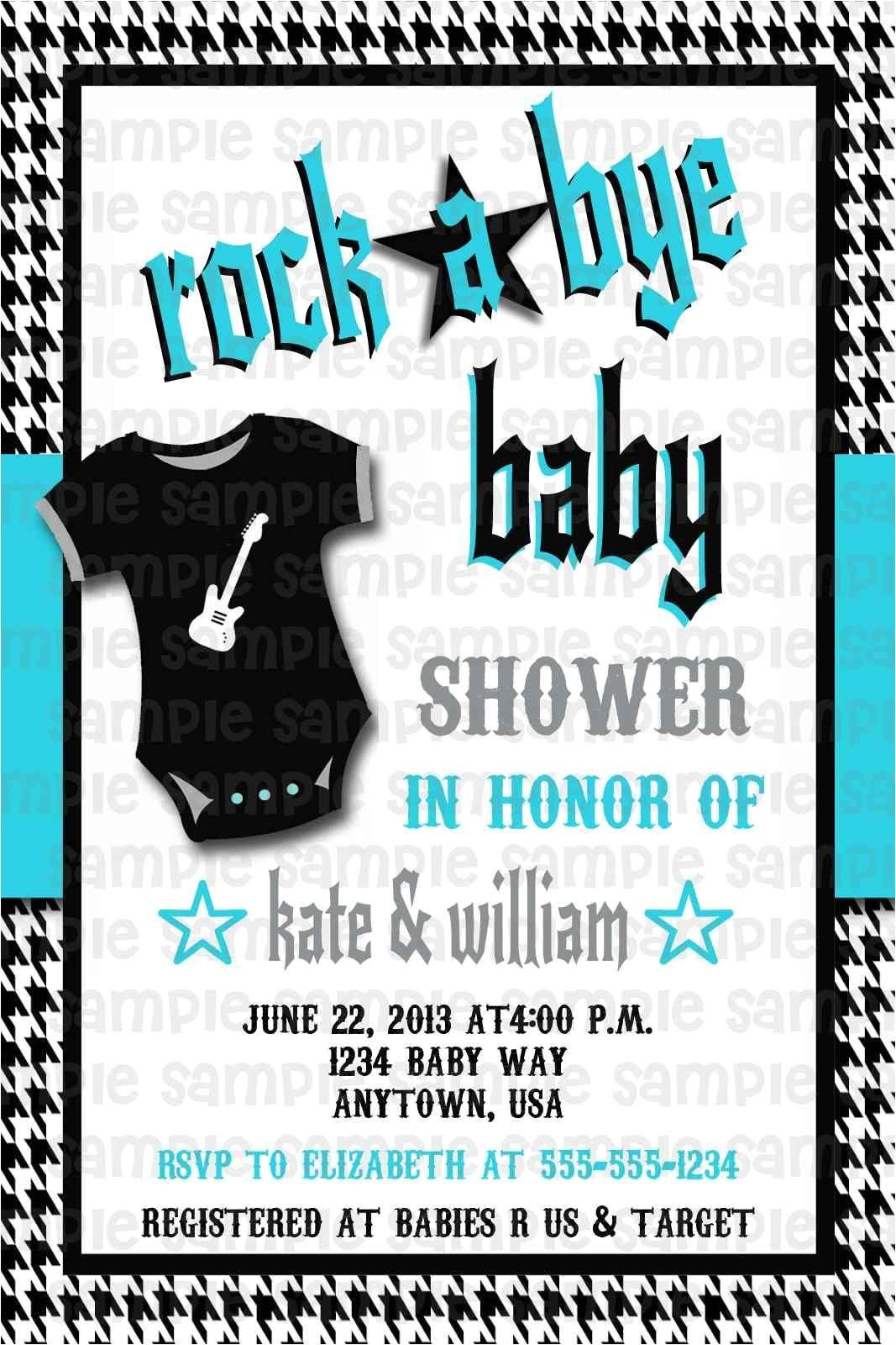 Rock N Roll Baby Shower Invitations Rockabilly Rock N Roll Rock A bye Baby Shower Invitation