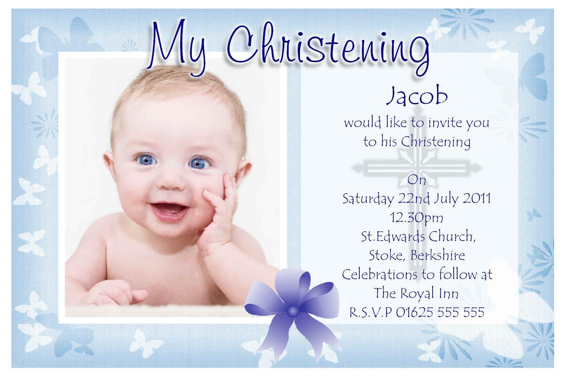 Sample Picture Of Baptismal Invitation Baptism Invitation Baptism Invitations for Boys New