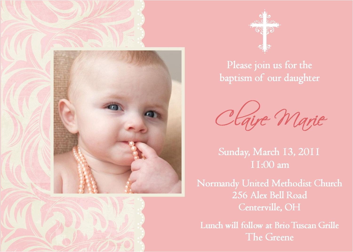 Sample Picture Of Baptismal Invitation Baptism Invitation Baptism Invitations for Girl