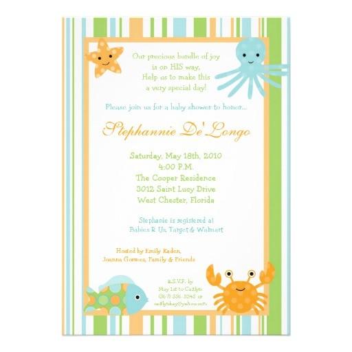 Sea Life Baby Shower Invitations 5×7 Ocean Sea Life Octopus Baby Shower Invitation Custom