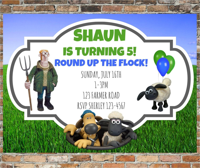 Shaun the Sheep Birthday Party Invitations Shaun the Sheep Invitations and Thank You Cards Personalized