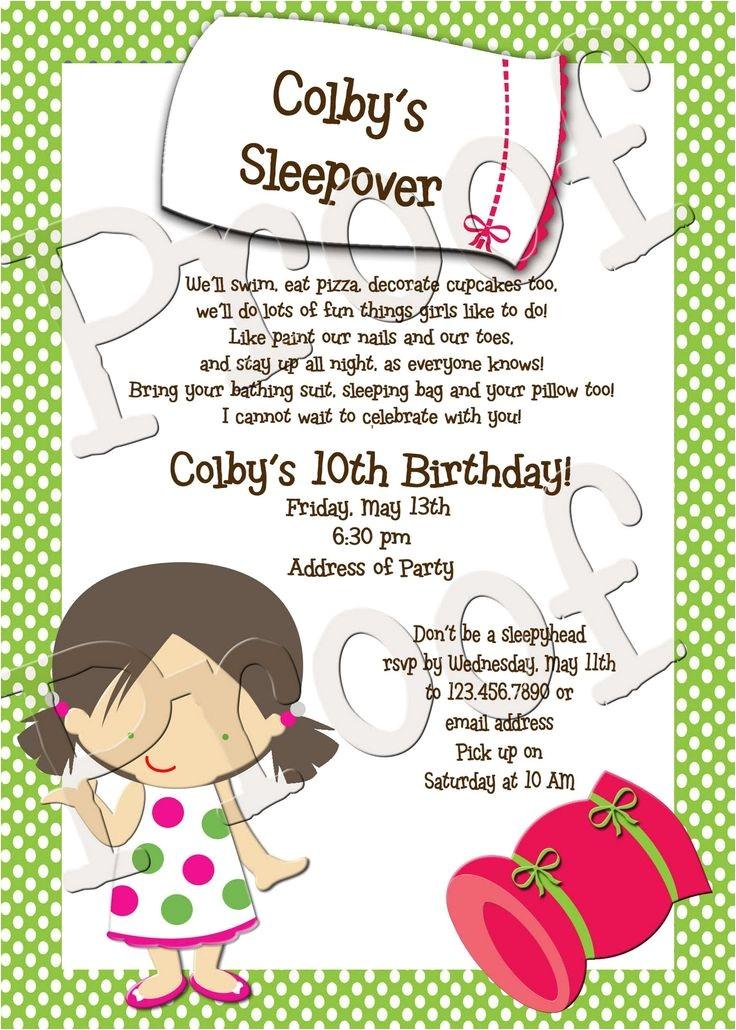 Slumber Party Invitation Poem Cute Sleepover Poem Bethany S Birthday