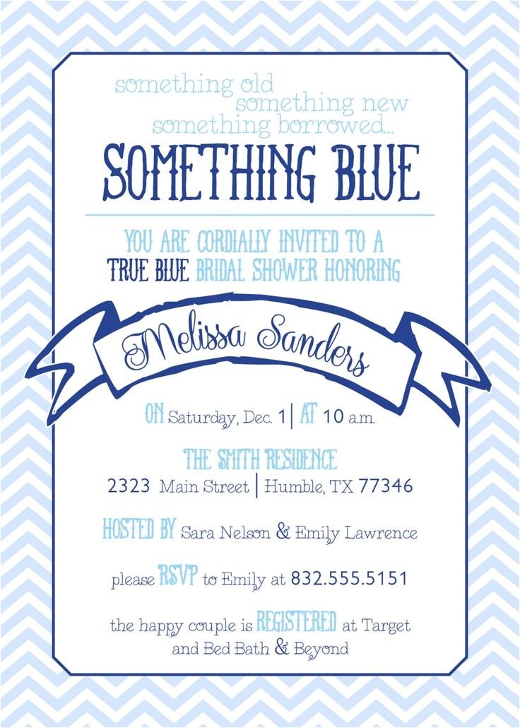 Something Blue Bridal Shower Invitations Chevron something Blue Bridal Shower Invitation Bailey