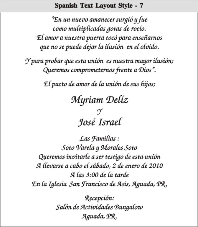 Spanish Birthday Invitation Wording Samples Spanish Wedding Invitation Wording