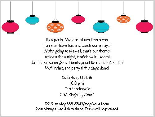 Summer Party Invitation Wording Paper Lanterns Summer Party Invitations