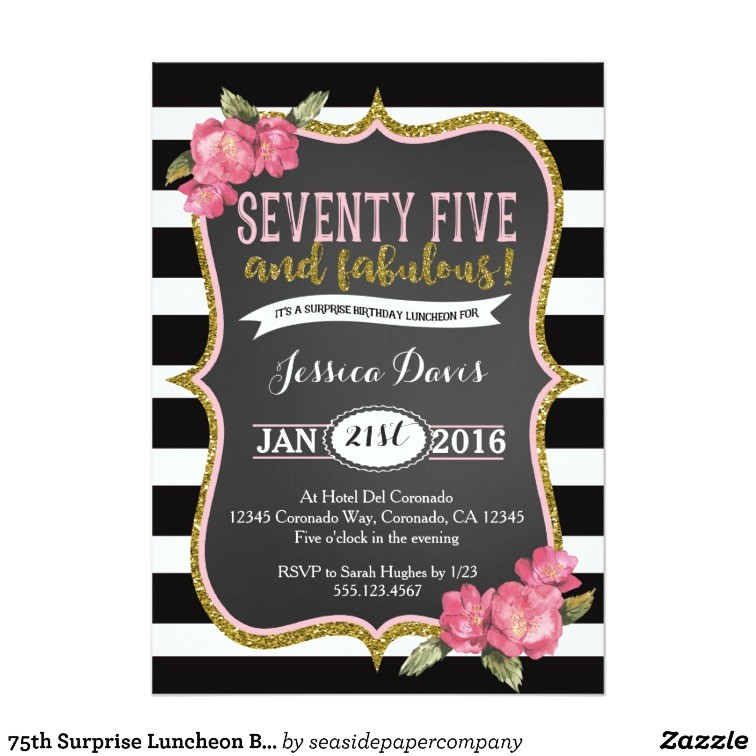 Surprise Birthday Brunch Invitations 75th Surprise Luncheon Birthday Party Invitation