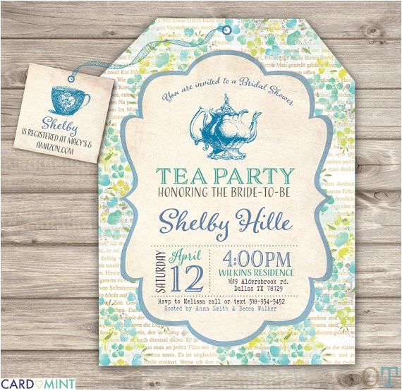 Tea Party themed Bridal Shower Invitations Blue Bridal Tea Party Bridal Shower Invitations theme by
