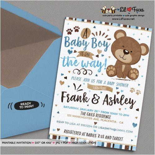 Teddy Bear Baby Shower Invitations Free Blue and Brown Little Bear Baby Shower Invitation Blue and