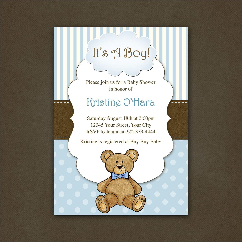 Teddy Bear Baby Shower Invitations Free Boy Teddy Bear Baby Shower Invitation Printable File $12