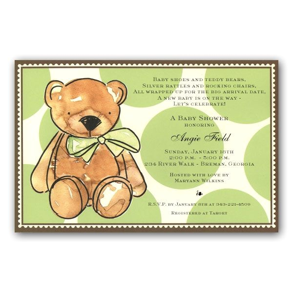 Teddy Bear Baby Shower Invitations Free Brown Teddy Bear Baby Shower Invitations