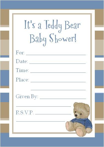 Teddy Bear Baby Shower Invitations Free Teddy Bear Baby Shower Invitations
