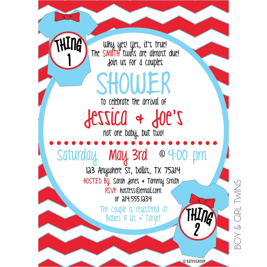 Thing 1 and Thing 2 Baby Shower Invitation Template Thing E Thing Two Baby Shower Invitation