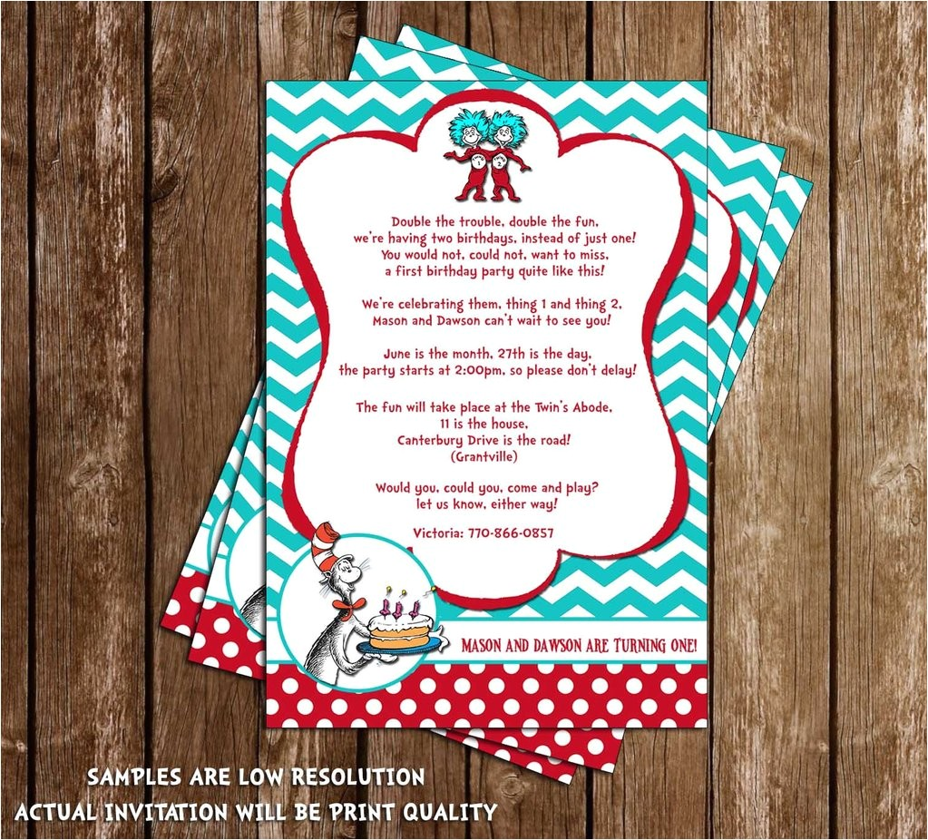 Thing One Thing Two Birthday Invitations Novel Concept Designs Cat In the Hat Thing 1 and Thing