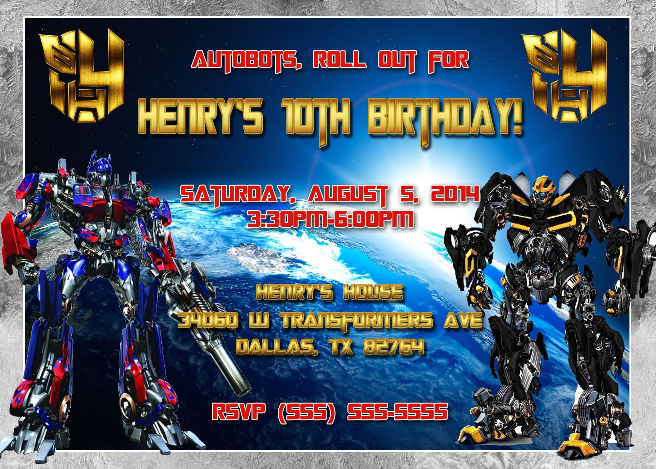 Transformer Party Invites Transformers Birthday Invitation