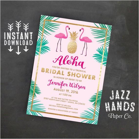 Tropical Bridal Shower Invitations Templates Tropical Bridal Shower Invitation Template