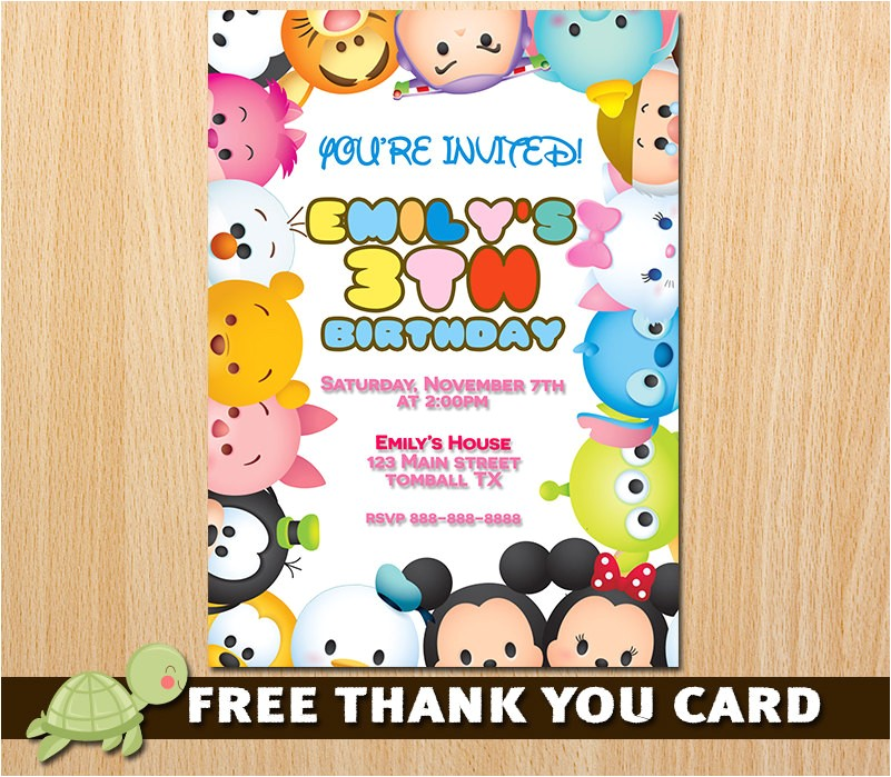 Tsum Tsum Party Invitations Tsum Tsum Invitation Tsum Tsum Birthday Invitation Tsum Tsum