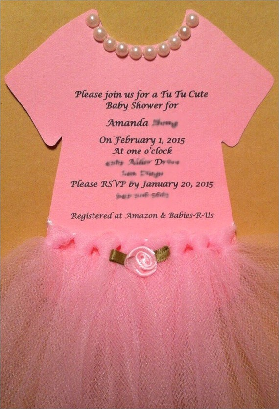 Tutu themed Baby Shower Invitations Tutu Invitations for Tutu themed Esie Baby Shower or