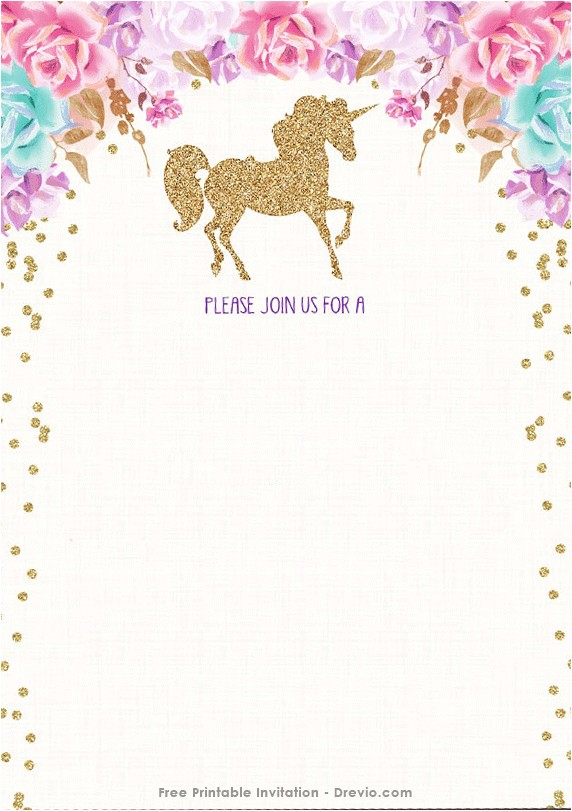 Unicorn Birthday Party Invitations Free Template Free Printable Golden Unicorn Birthday Invitation Template