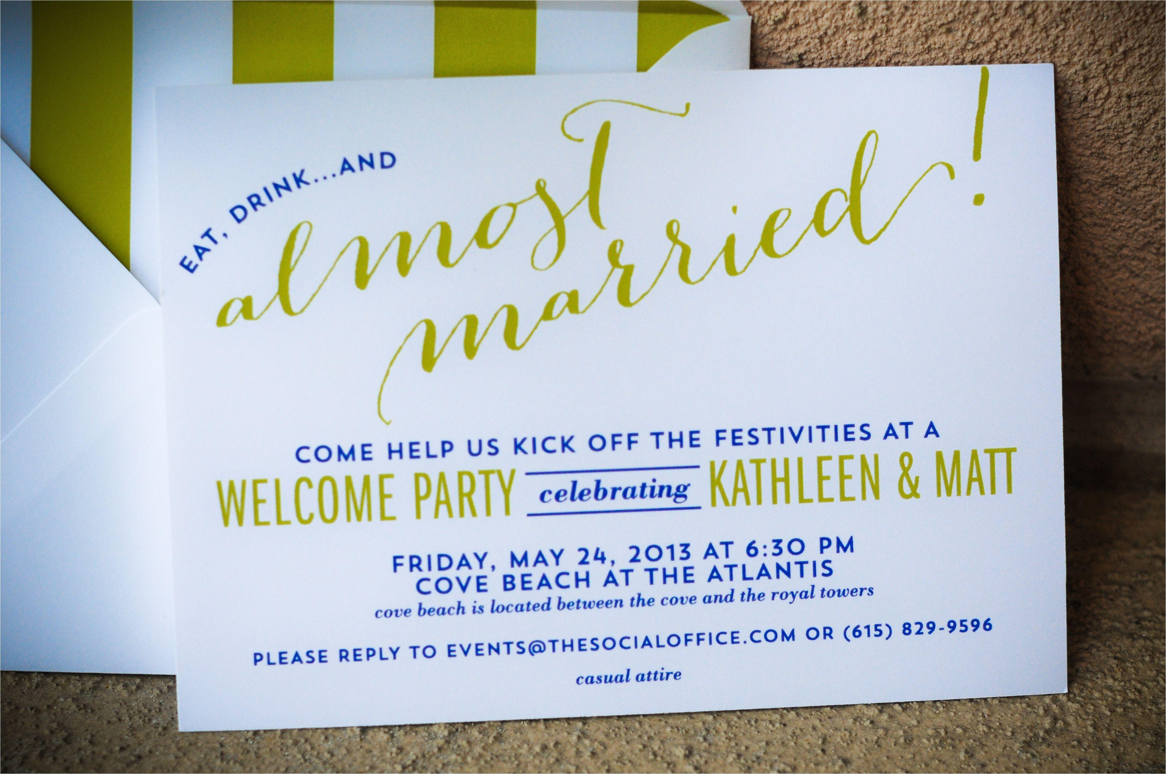 Wedding Welcome Party Invitation Bahamas Wedding Wel E Party Invitations I Custom by Nico