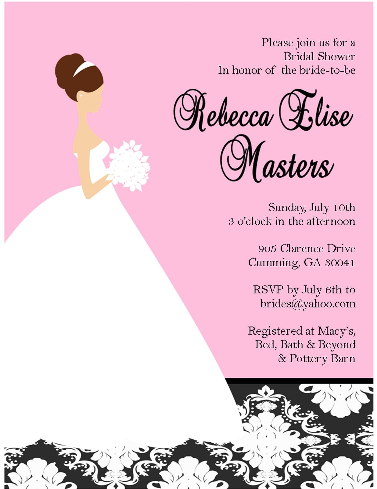 What to Put On A Bridal Shower Invite Bridal Shower Invitations Custom Bridal Shower