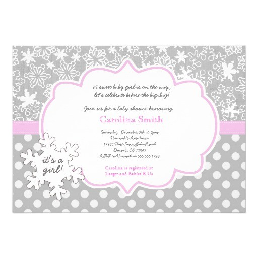 Winter Baby Girl Shower Invitations Personalized Winter Wonderland Invitations