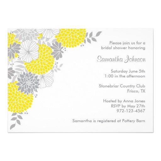 Yellow and Grey Bridal Shower Invitations Yellow and Grey Floral Bridal Shower Invitations Zazzle