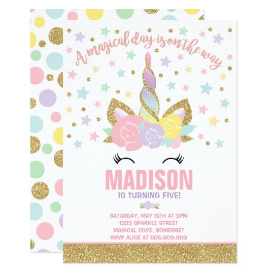 Zazzle Unicorn Birthday Invitations Rainbow Unicorn Birthday Invitation Pink Gold