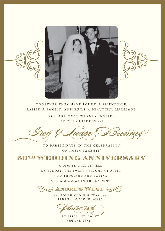 60th Wedding Anniversary Invitation Wording Golden 50th Anniversary Party Invitation