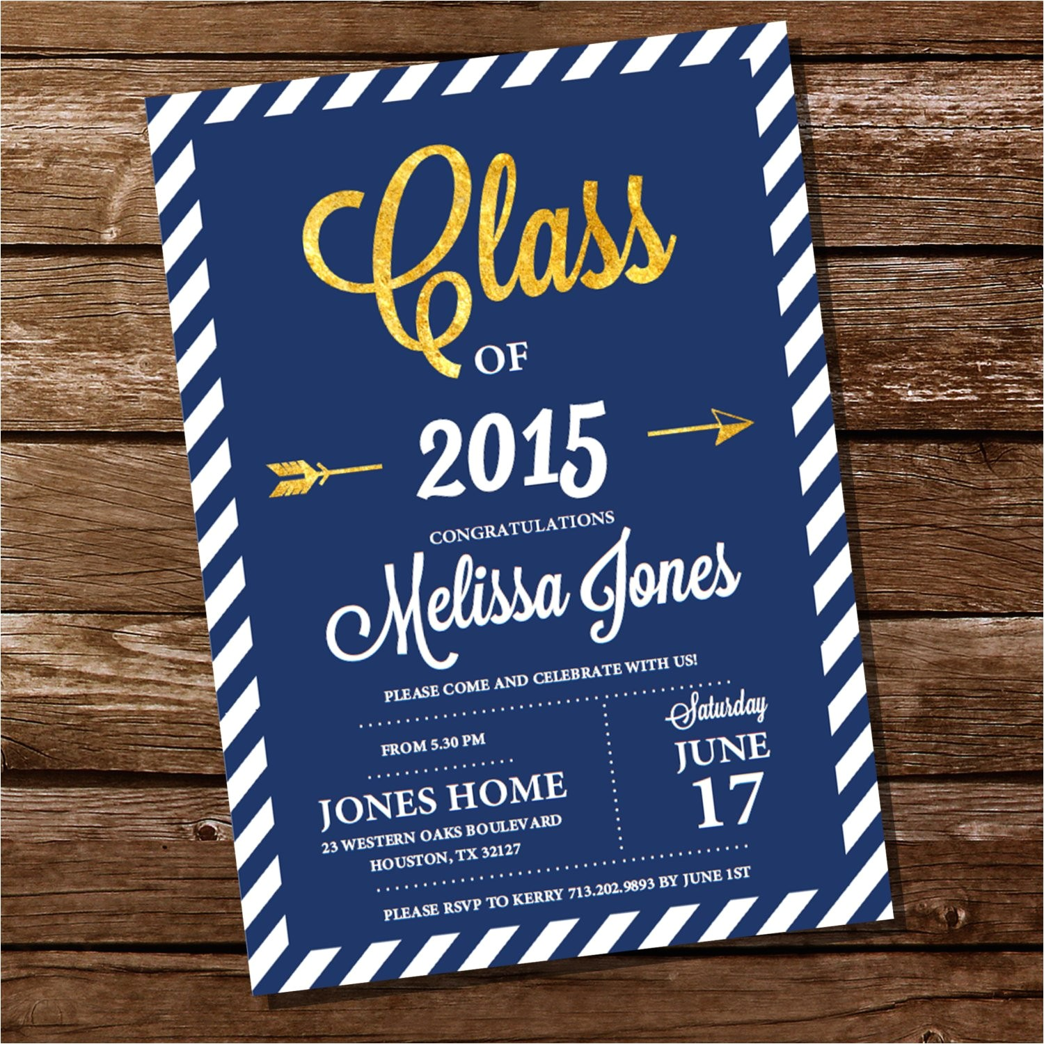Blue and Gold Graduation Invitations Navy Blue and Gold Graduation Invitation Gold Graduation