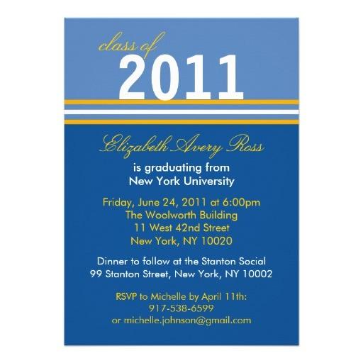 Blue and Gold Graduation Invitations Trendy Blue Gold Stripe Graduation Invitations 5 Quot X 7