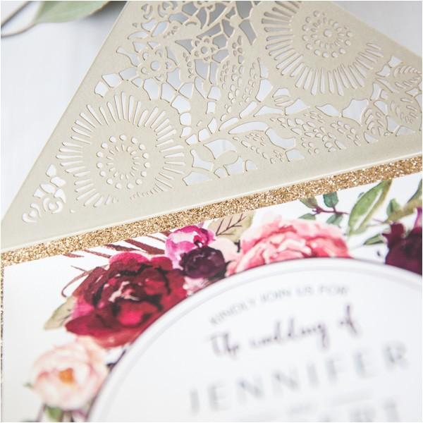 Burgundy and Ivory Wedding Invitations Ivory Laser Cut Floral Unique Wedding Invitations with