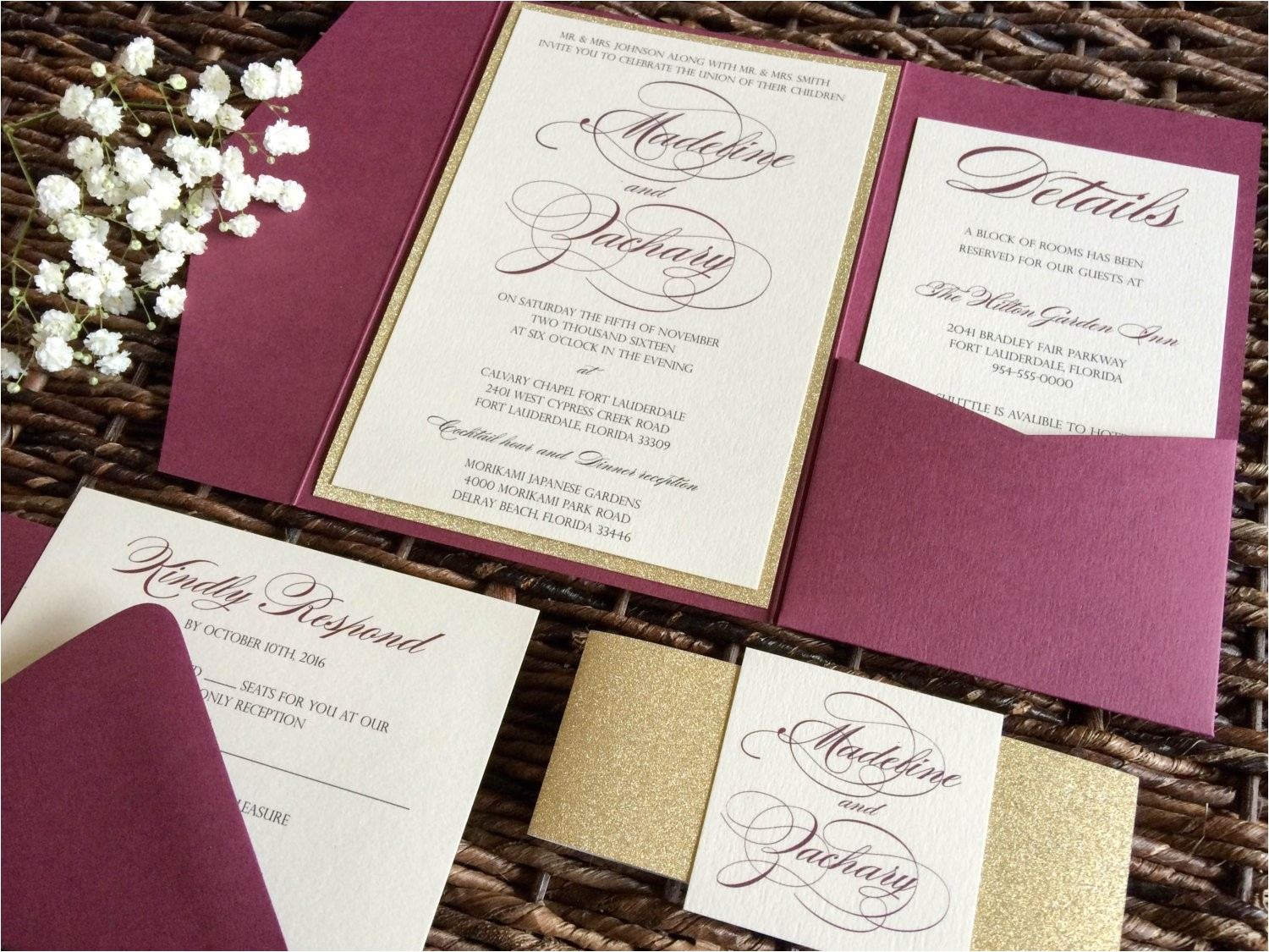 Burgundy themed Wedding Invitations Burgundy Wedding Invitation Burgundy and Gold Glitter Pocket