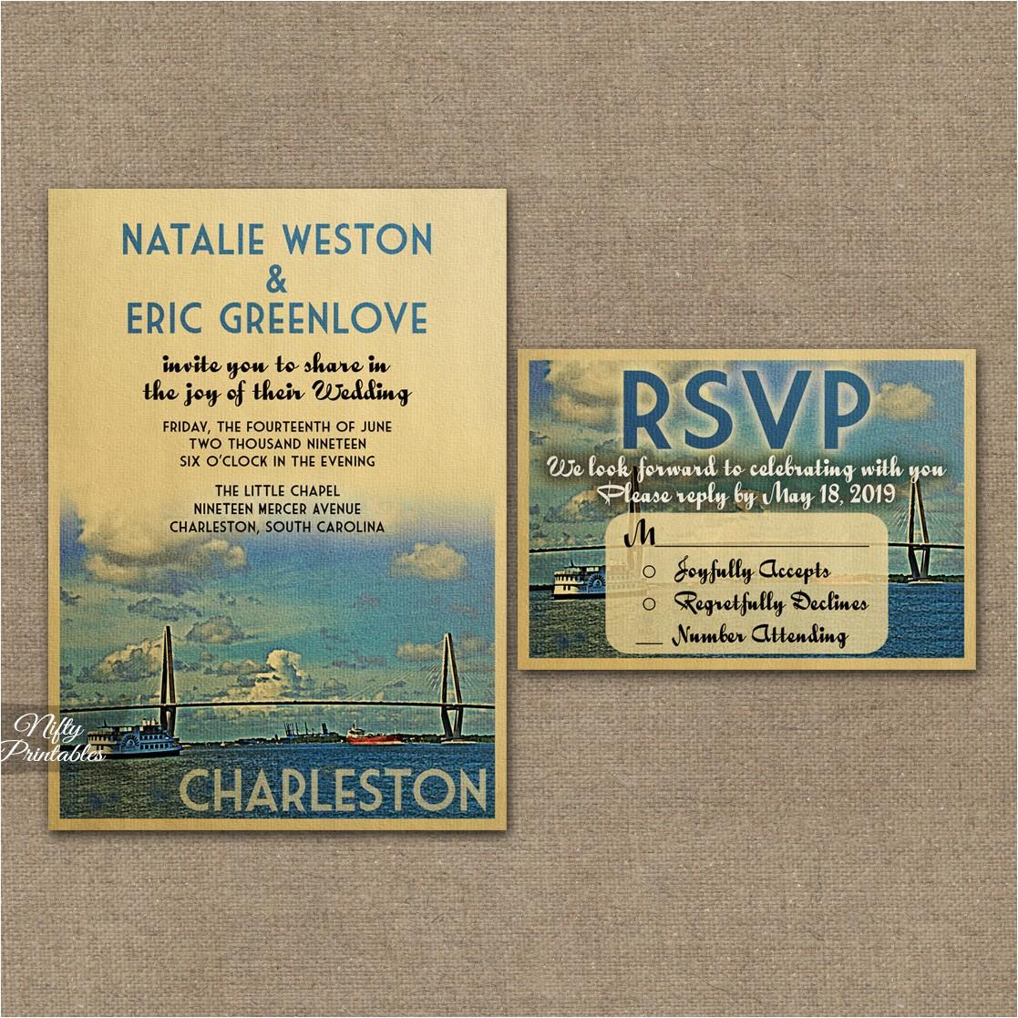 Charleston Sc Wedding Invitations Charleston Wedding Invitations Vtw Nifty Printables