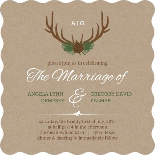 Deer Antler Wedding Invitations Rustic Deer Antlers Wedding Invitation Rustic Wedding