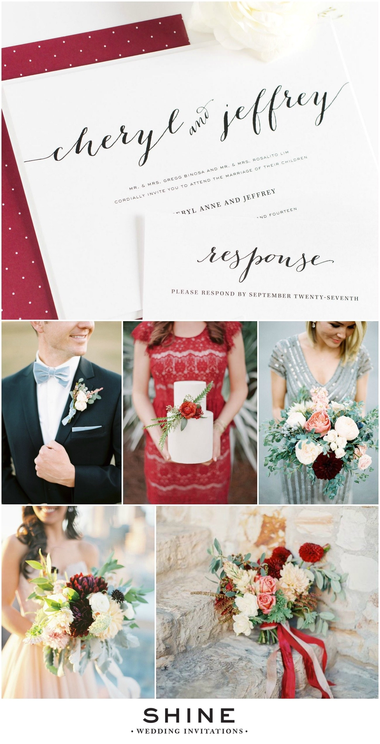 Dusty Blue and Cranberry Wedding Invitations Dusty Blue Cranberry Wedding Inspiration Wedding