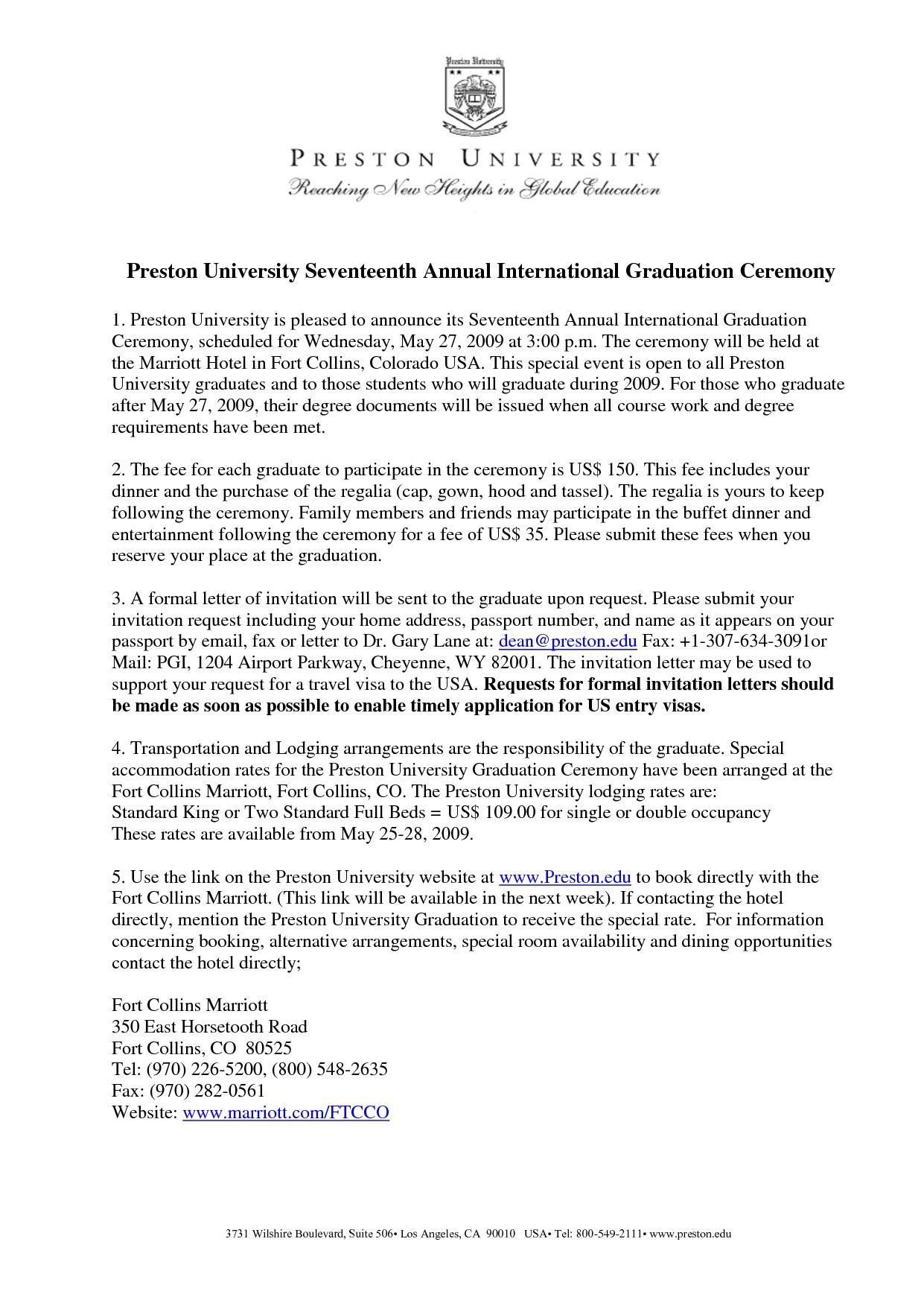 Graduation Invitation Letter Sample Graduation Invitation Examples